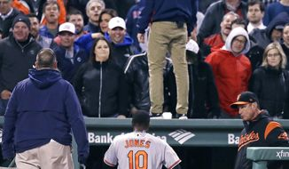 Security guard stands on the dugout roof and another on the field as Boston Red Sox fans watch Baltimore Orioles' Adam Jones head to the clubhouse after he was ejected for arguing a strikeout during the fifth inning of a baseball game at Fenway Park in Boston, Wednesday, May 3, 2017. (AP Photo/Charles Krupa)