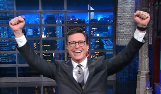 "CBS ""Late Night"" host Stephen Colbert responded on May 4, 2017, to controversy surrounding a gay sex joke he made earlier in the week to attack President Donald Trump. (CBS ""Late Night"" screenshot)"