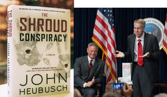 "Actor Gary Sinise, emceeing a book launch for debut novelist John Heubusch, the executive director of the Ronald Reagan Presidential Library and Foundation. The book, ""The Shroud Conspiracy,"" was published by Howard Books, an imprint of Simon & Schuster."