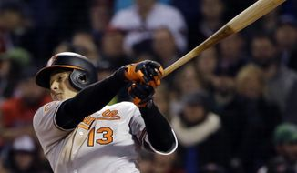 Baltimore Orioles' Manny Machado hits a three-run homer in the fourth inning of a baseball game against the Boston Red Sox at Fenway Park, Thursday, May 4, 2017, in Boston. (AP Photo/Elise Amendola)