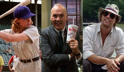 """Geena Davis in """"A League of Their Own: 25th Anniversary Edition,"""" Michael Keaton in """"The Founder"""" and Matthew McConaughey in """"Gold,"""" all available on Blu-ray."""