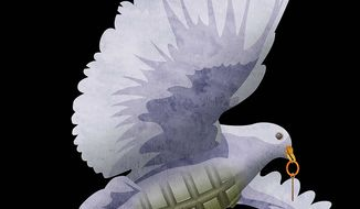 Middle East Peace Dove Illustration by Greg Groesch/The Washington Times