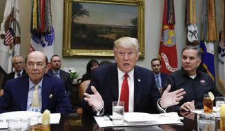 FILE - In this Feb. 2, 2017, file photo, President Donald Trump, flanked by then-Commerce Secretary-designate Wilbur Ross, left, and Harley Davidson President and CEO Matt Levatich, talks to media before a lunch meeting with Harley Davidson executives and union representatives in the Roosevelt Room of the White House in Washington. Trump says labor unions have an open door to his White House, but so far, he is holding it a little more ajar for some organizations than others. Trump has put out the welcome mat for the nations construction trades, with whom hes had relationships during decades of building office towers and hotels. Also invited in have been auto, steel and coal workers who backed him during the 2016 election. But theres been no White House invitation for other unions representing the nations sprawling _ but shrinking _ pool of 14.6 million workers who collectively bargain with employers in the labor movement. (AP Photo/Carolyn Kaster, File)