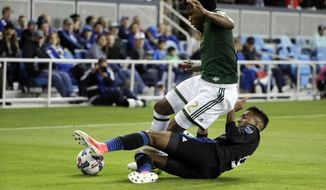Portland Timbers defender Alvas Powell, top, tries to evade a slide tackle from San Jose Earthquakes' Danny Hoesen during the first half of an MLS soccer match, Saturday, May 6, 2017, in San Jose, Calif. (AP Photo/Marcio Jose Sanchez)