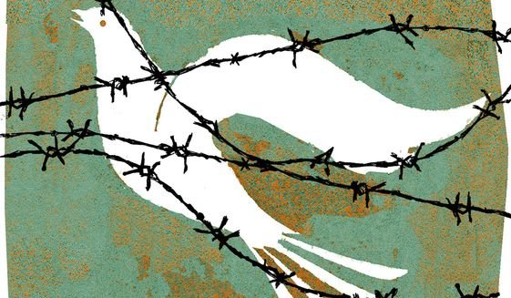 Illustration on obstacles to Middle East peace by Donna Grethen/Tribune Content Agency