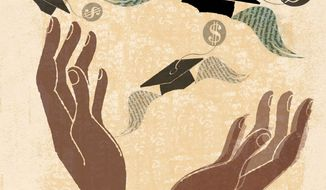 Illustration on the prohibitive costs of higher education by Donna grethen/Tribune Content Agency