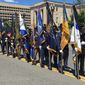 A color guard honored five police officers killed in the line of duty in Maryland and Virginia last year. The event, attended by District Mayor Muriel Bowser, opened National Police Week. Nationwide, the number of slain officers in 2016 was the highest since 2011. (Ryan M. McDermott/The Washington Times)