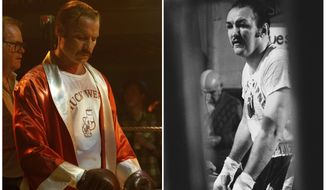 "In this combination photo, Liev Schreiber, left, portrays boxer Chuck Wepner in a scene from the film, ""Chuck,"" and Chuck Wepner appears during a workout at his home in Bayonne, N.J. on Jan. 21, 1975. The film will open in limited release on Friday. (AP Photo/Sarah Shatz/IFC Films, left, and Ray Stubblebin)"