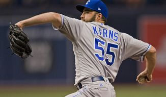 Kansas City Royals starter Nate Karns pitches against the Tampa Bay Rays during the first inning of a baseball game, Monday, May 8, 2017 in St. Petersburg, Fla. (AP Photo/Steve Nesius)