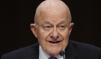 """Former National Intelligence Director James Clapper testifies on Capitol Hill in Washington, Monday, May 8, 2017, before the Senate Judiciary subcommittee on Crime and Terrorism hearing: """"Russian Interference in the 2016 United States Election."""" (AP Photo/Pablo Martinez Monsivais)"""