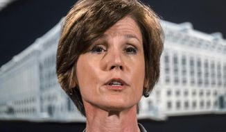In this June 28, 2016, file photo, then-Deputy Attorney General Sally Yates speaks during a news conference at the Justice Department in Washington. An Obama administration official who warned the Trump White House about contacts between Russia and one of its key advisers is set to speak publicly for the first time about the concerns she raised. Yates is testifying May 8, 2017, before a Senate Judiciary subcommittee investigating Russian interference in the 2016 presidential election. (AP Photo/J. David Ake, File)