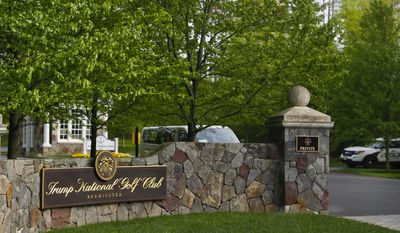 FILE - In this May 7, 2017 file photo, the entrance to Trump National Golf Club in Bedminster, N.J. (AP Photo/Pablo Martinez Monsivais, File)