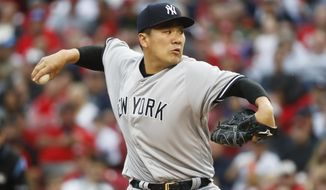 New York Yankees starting pitcher Masahiro Tanaka throws in the first inning of a baseball game against the Cincinnati Reds, Monday, May 8, 2017, in Cincinnati. (AP Photo/John Minchillo)