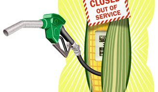 Illustration on phasing out ethanol content in U.S. gasoline by Alexander Hunter/The Washington Times
