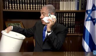 """Israeli Prime Minister Benjamin Netanyahu joined President Trump in calling CNN and The New York Times """"fake news"""" in a video posted Sunday. (YouTube/@IsraeliPM)"""