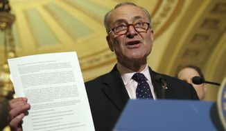 "Senate Minority Leader Charles E. Schumer, New York Democrat, displays a letter to Republicans about health care while speaking to the media last week We didn't lay out our exact specific plan,"" Mr. Schumer told reporters. ""We laid out where we want to go."" (Associated Press)"