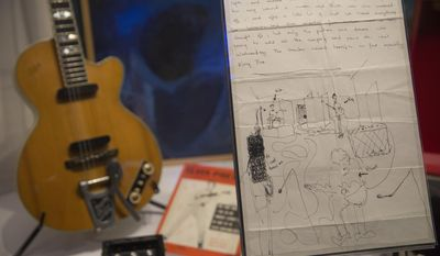 A letter from one of Pink Floyd's original members  Syd Barrett to his girlfriend Jenny Spires, is photographed on display at the V&A museum in west London, Tuesday, May 9, 2017, from the Pink Floyd exhibition 'Their Mortal Remains', an immersive, experimental journey through the band's world of over 350 objects and artefacts. The exhibition marks the 50th anniversary of the band's first album, 'The Piper At The Gates Of Dawn' and officially opens to the public on 13 May (Photo by Joel Ryan/Invision/AP)