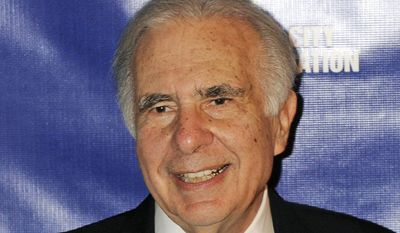 FILE - In this March 16, 2010, file photo, financier Carl Icahn poses for photos upon arriving for the annual New York City Police Foundation Gala in New York. Eight U.S. senators have requested an investigation into whether billionaire investor Icahn, who is also an adviser to President Donald Trump, violated insider trading rules when he profited from bets he made in the renewable fuel credit market. In a letter to three separate government agencies, the senators say that Icahn bet in 2016 that the price of renewable fuel credits would drop, then made recommendations to Trump that caused prices to drop, netting him a profit. (AP Photo/Henny Ray Abrams, File)