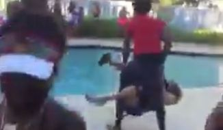 A South Florida teenager seen in a viral video throwing a 68-year-old woman into a community pool against her will after she tried to quiet down a rowdy party has been arrested. (Twitter/@quefieri)