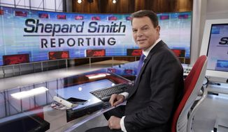 """FILE - In this Jan. 30, 2017, file photo, Fox News Channel chief news anchor Shepard Smith on The Fox News Deck before his """"Shepard Smith Reporting"""" program, in New York. Smith discussed his sexuality and the effect it has had on his career in an April 21, 2017, speech at the University of Mississippi. (AP Photo/Richard Drew, File)"""