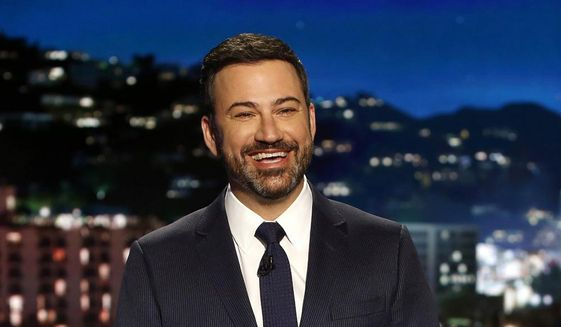 """In this April 11, 2017, file photo, host Jimmy Kimmel appears during a taping of """"Jimmy Kimmel Live,"""" in Los Angeles. (Randy Holmes/ABC via AP, File)"""