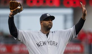 New York Yankees starting pitcher CC Sabathia waits after giving up an RBI single to Cincinnati Reds' Adam Duvall during the second inning of a baseball game, Tuesday, May 9, 2017, in Cincinnati. (AP Photo/John Minchillo)