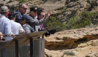 U.S. Interior Secretary Ryan Zinke is joined by San Juan County Commission Chairman Phil Lyman as he overlooks the Butler Wash Indian Ruins within the Bears Ears National Monument in Utah on Monday, May 8, 2017. (Francisco Kjolseth/The Salt Lake Tribune via AP)