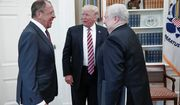 President Trump meets with Russian Foreign Minister Sergey Lavrov (left) next to Russian Ambassador to the U.S. Sergei Kislyak on Wednesday. This is Mr. Trump's highest face-to-face contact with a Russian government official since he took office. (Associated Press)