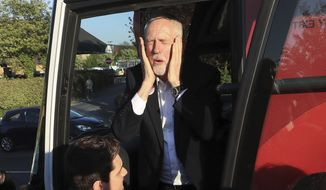 The latest ICM polls show Jeremy Corbyn and the Labor Party trailing Theresa May's Conservatives by a stunning 49 percent to 27 percent. Labor Party members blame Mr. Corbyn's lackluster leadership. (Associated Press/File)