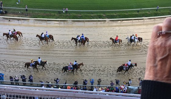 The horses of the 143rd Kentucky Derby are paraded around the track of Churchill Downs prior to the big race.  (Eric Althoff/The Washington Times)