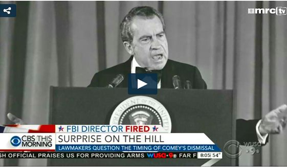 Multiple Media Research Center reports cite the press for their overblown coverage of FBI director James Comey's firing, which compared the event to Watergate. (Image from Media Research Center)