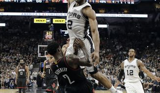 San Antonio Spurs forward Kawhi Leonard, top, is fouled by Houston Rockets' Patrick Beverley (2) on a dunk attempt during the second half in Game 5 of an NBA basketball second-round playoff series, Tuesday, May 9, 2017, in San Antonio. (AP Photo/Eric Gay)