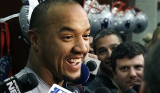 This Jan. 11, 2017 photo shows New England Patriots wide receiver Michael Floyd speaking to media at his locker after NFL football practice in Foxborough, Mass. A person with direct knowledge of the contract tells The Associated Press that wide receiver Michael Floyd has agreed to sign with the Minnesota Vikings. The person spoke to the AP on condition of anonymity Wednesday, May 10, 2017 because the one-year deal worth $1.5 million had yet to be announced by the team. (AP Photo/Elise Amendola)