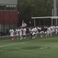 The men's lacrosse team at Adelphi University recently used a speech by President Trump as their entrance music. (Instagram/@barstoolsports)