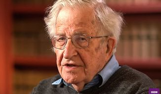 "Linguist and political commentator Noam Chomsky told the BBC on May 10, 2017, that the Republican Party is the most dangerous organization ""in human history."" (BBC ""Newsnight"" screenshot)"