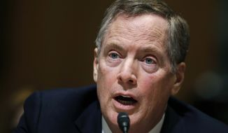 In this March 14, 2017, file photo, U.S. Trade Representative-designate Robert Lighthizer testifies on Capitol Hill in Washington. Lighthizer has easily cleared a hurdle in the Senate. The Senate has voted 81-15 to advance the nomination of Lighthizer. A final confirmation vote could occur later Thursday, May 11, 2017. (AP Photo/Manuel Balce Ceneta, File)