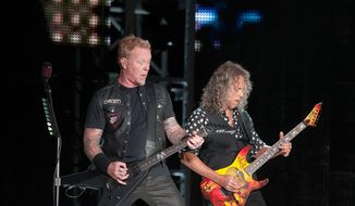 James Hetfield (left) and Kirk Hammett of Metallica perform at M&T Stadium in Baltimore Wednesday, May 10, 2017.  (Erica Bruce/Special to The Washington Times)