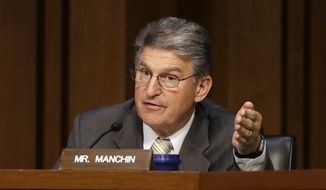 Sen. Joe Manchin, D-W. Va., speaks during a Senate Intelligence Committee hearing, on Capitol Hill in Washington, Thursday, May 11, 2017. (AP Photo/Jacquelyn Martin) ** FILE **