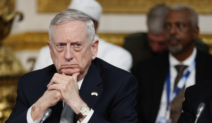 U.S. Secretary of Defense James Mattis listens during a National Security session at the 2017 Somalia Conference in London, Thursday, May 11, 2017. The Somalia Conference is aimed at improving stability and prosperity in Somalia and boosting the humanitarian response to the drought. (AP Photo/Kirsty Wigglesworth)