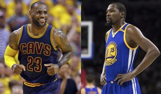 FILE - At left, in an April 20, 2017, file photo, Cleveland Cavaliers forward LeBron James smiles after hitting a basket against the Indiana Pacers during the second half of Game 3 of a first-round NBA basketball playoff series, in Indianapolis. At right, in a Feb. 27, 2017, file photo, Golden State Warriors' Kevin Durant looks on during the first half of an NBA basketball game against the Philadelphia 76ers, in Philadelphia. Kevin Durant looks at LeBron James from afar and marvels at how the Cavs main man keeps finding a way to take his game to another level, year after year. (AP Photo/File)