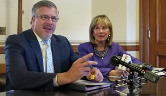 Wisconsin budget committee co-chairs Rep. John Nygren and Sen. Alberta Darling speak at a news conference where they say in the face of an impasse they are open to pulling transportation funding out of the state budget to pass it separately on Thursday, May 11, 2017, in Madison, Wis. (AP Photo/Scott Bauer)