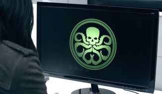 "A character from ABC's ""Agents of S.H.I.E.L.D."" looks at a symbol for the terrorist group Hydra. (YouTube, Marvel) ** FILE **"