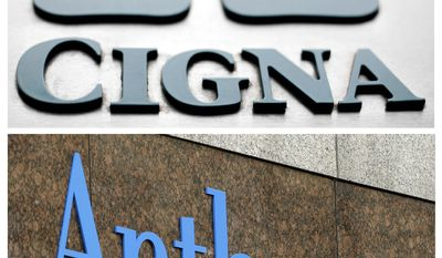 """FILE - This combo of file photos shows signage for health insurers Cigna Corp., and Anthem Inc. Anthem is finally ending its soured, $48 billion bid to buy rival Cigna, but the nation's second-largest health insurer isn't giving up a fight over whether Cigna deserves a termination fee for the scrapped deal. Anthem says Cigna sabotaged the merger agreement and caused """"massive damages"""" for Anthem, which provides Blue Cross-Blue Shield coverage in several states. (AP Photo/File)"""