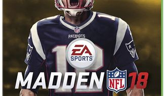 This image provided by EA Sports shows New England Patriots quarterback Tom Brady on the the cover of the Madden 18 video game. Brady truly has reached the pinnacle. The five-time Super Bowl champion will be the cover athlete for Madden 18, following his Patriots teammate and buddy Rob Gronkowski. (Jamie O'Connell/EA Sports via AP)