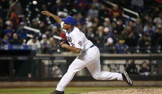 New York Mets relief pitcher Jeurys Familia delivers during the ninth inning of the team's baseball game against the Sam Francisco Giants, Tuesday, May 9, 2017, in New York. The Mets defeated the Giants 6-1. (AP Photo/Kathy Willens)