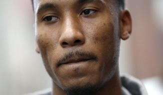 New York Giants' Travis Rudolph talks to reporters during NFL football rookie minicamp, Friday, May 12, 2017, in East Rutherford, N.J. (AP Photo/Julio Cortez)