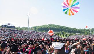 A shot of Liberty University's 2016 commencement is seen here. Roughly 18,000 are expected to graduate on May 13 when President Trump gives the day's official address. (Liberty University)