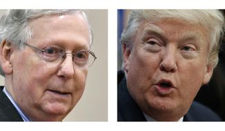 FILE - In these photo, Senate Majority Leader Mitch McConnell of Ky. in a Feb. 22, 2017 file photo, and President Donald Trump, May 12, 2017. The relationship of Trump and McConnell is now at the center of the Washington crucible. As controversy swirls over Trump's abrupt firing of FBI Director James Comey, McConnell's moves will set the tone for how the rest of the Senate and Republican Party as a whole responds.  (AP Photo)