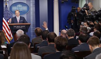 White House press secretary Sean Spicer speaks during the daily press briefing at the White House in Washington, Friday, May 12, 2017. (AP Photo/Evan Vucci)