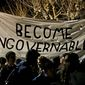 Protesters against a speech appearance by Milo Yiannopoulos march on the University of California, Berkeley campus Feb. 1. (Associated Press)